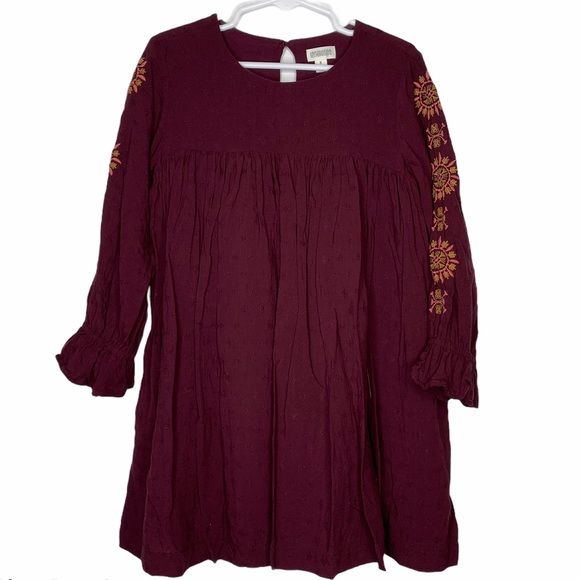 Gymboree Burgandy Embroidered Dress Lined Rayon 5